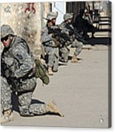 U.s. Army Soldiers Providing Security Acrylic Print by Stocktrek Images