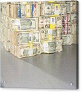 Us Bills In Bundles Acrylic Print by Adam Crowley