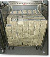 Us Dollar Bills In A Bank Cart Acrylic Print by Adam Crowley