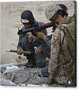 U.s. Marine Watches An Afghan Police Acrylic Print