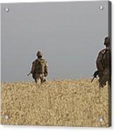 U.s. Marines Patrol A Wadi Near Kunduz Acrylic Print
