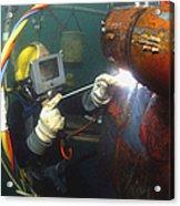 U.s. Navy Diver Welds A Repair Patch Acrylic Print