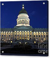 Utah Capitol Building At Twilight Acrylic Print