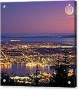 Vancouver At Night, Time-exposure Image Acrylic Print by David Nunuk