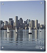 View Of Boston Skyline From Boston Harbor Acrylic Print
