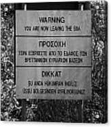warning sign warning of the border of the turkish military controlled area of the SBA Sovereign Base Acrylic Print by Joe Fox