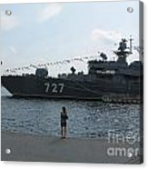 warship in Peterburg Acrylic Print
