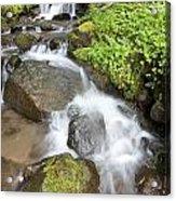 Water Cascading Over Rocks, Mount Hood Acrylic Print