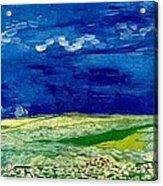 Wheat Field Under Clouded Sky Acrylic Print