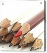 White And Red Pencils Acrylic Print by Blink Images