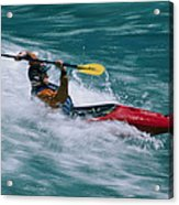 Whitewater Kayaker Surfing A Standing Acrylic Print