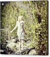Woman In A Forest Acrylic Print