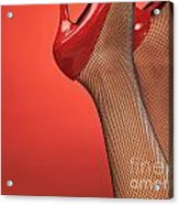 Woman In Red High Heel Shoes Acrylic Print
