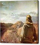 Woman Walking On Top Of Sand Dunes Acrylic Print