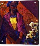 Woman With Calla Lilies Acrylic Print by Ellen Dreibelbis