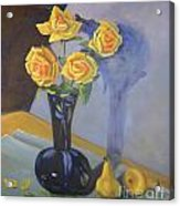 Yellow Roses And Pears Acrylic Print