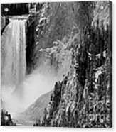 Yellowstone Waterfalls In Black And White Acrylic Print