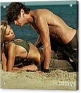 Young Couple On The Beach Acrylic Print