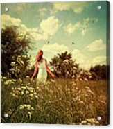 Young Girl Walking In Field Of Flowers Acrylic Print