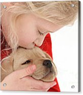 Young Girl With Yellow Labrador Acrylic Print