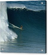 A Surfer Rides A Powerful Wave Acrylic Print