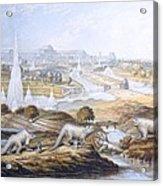 1854 Crystal Palace Dinosaurs By Baxter 2 Acrylic Print