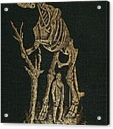 1868 Waterhouse Hawkins & Hadrosaur Gilt Acrylic Print