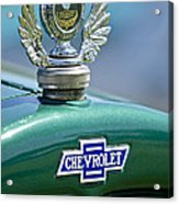 1928 Chevrolet Stake Bed Pickup Hood Ornament Acrylic Print