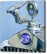 1933 Delage D8s Coupe Hood Ornament Acrylic Print by Jill Reger