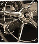 1953 Pontiac Steering Wheel - Sepia Acrylic Print