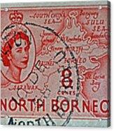 1954 North Borneo Stamp Acrylic Print