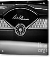 1955 Chevy Bel Air Glow Compartment In Black And White Acrylic Print