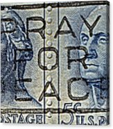 1962 Pray For Peace Stamp Collage Acrylic Print