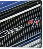 1968 Dodge Charger Rt Coupe 426 Hemi Upgrade Grille Emblem Acrylic Print