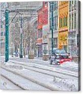 1st Real Snowfall Plow 2012 Acrylic Print