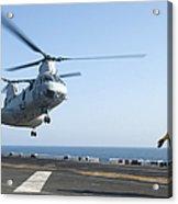 A Ch-46e Sea Knight Helicopter Prepares Acrylic Print