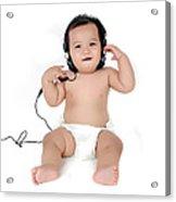 A Chubby Little Girl Listen To Music With Headphones  Acrylic Print