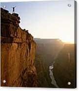 A Hiker Surveys The Grand Canyon Acrylic Print by John Burcham