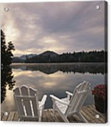 A Pair Of Adirondack Chairs On A Dock Acrylic Print