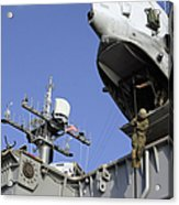 A Soldier Fast-ropes From The Rear Acrylic Print