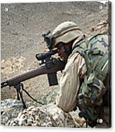 A Soldier Provides Security Acrylic Print