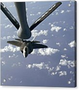 A Three Ship Formation Of F-22 Raptors Acrylic Print by Stocktrek Images