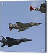 An F-15 Eagle, P-47 Thunderbolt Acrylic Print