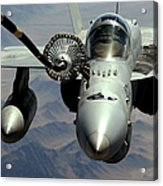 An Fa-18c Hornet Receives Fuel Acrylic Print