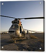 An Iraqi Helicopter Sits On The Flight Acrylic Print