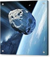 Asteroid Approaching Earth, Artwork Acrylic Print by Detlev Van Ravenswaay