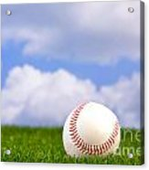 Baseball On Grass Acrylic Print by Richard Thomas