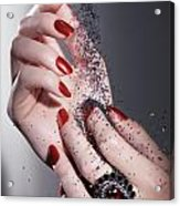 Black Sand Falling On Woman Hands Acrylic Print by Oleksiy Maksymenko