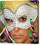 Blond Woman With Mask Acrylic Print