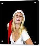 Blonde Woman With Santa Hat Acrylic Print